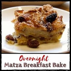 Might try with chocolate chips instead...This delicious breakfast has a light, custardy texture & a sweet matza flavour. With raisins & cinnamon for extra yumminess, it's a great start to the day!