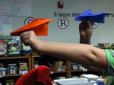 "Prepositional Phrases writing activity using Paper Planes- great for all those kids who like to move!  Plus, it probably saves instructional time & the ""trouble"" of having to think of sentences on their own.  The picture taking part could be optional, and I probably wouldn't do it with older kids."