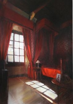 """Saatchi Online Artist Karina Knight; Painting, """"Red bedroom, chateau Cenevieres, Lot,France"""" #art"""
