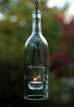 Fancy - Wine bottle turned to hanging lamp