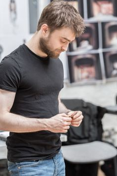 """Pictures of Daniel Radcliffe rehearsing for his play """"Rosencrantz and Guildenstern are Dead""""."""