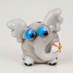 Grey Halloween Elephant Lampwork Bead  eyeball by maybeads on Etsy, $19.00