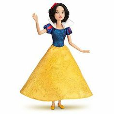 Classic Disney Princess Snow White Doll -- 12'' by Disney. $24.99. Deluxe costume features blue glitter bodice with satin puff sleeves, white satin collar and yellow satin dress with glitter detailing. Includes red satin headband. 12'' H. Poseable arms and legs. Part of the Disney Princess Classic Doll Collection. The fairest of them all, our Disney Princess Snow White Doll features poseable arms and legs to make every play time a fairytale come true. Snow White's delux...