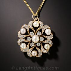 Victorian Natural Pearl and Diamond Snowflake Pendant/Pin