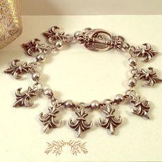 King Baby Studio Fleur De Lis Charm Bracelet 8.5