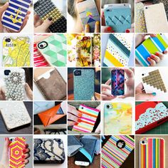 DIY iphone cases. I'm totally doing the photo collage, map, fabric, and geometric ones!