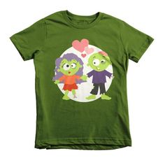 Kids Halloween Shirt - Zombie Love with color variations.