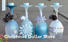 Winter Wonderland Christmas Wine Glasses (Candle Holders) - made with dollar store wine glasses and glitter blast spray paint Wine Glass Candle Holder, Wine Bottle Candles, Candle Holders, Dollar Store Christmas, Diy Christmas Tree, Christmas Stuff, Christmas Ideas, Christmas Centerpieces, Christmas Decorations