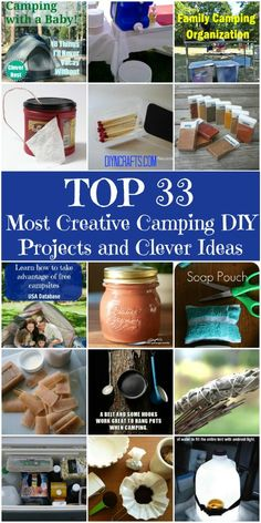 Top 33 Most Creative Camping DIY Projects and Clever Ideas – Great ideas: plastic container filled with matches, that has sandpaper glued to the lid for striking! Old coffee container with toilet paper in it.