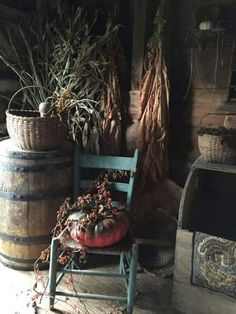 There is a rhythm inside a year of time, like a great mainspring that keeps it ticking from spring to summer to fall to winter. Primitive Autumn, Country Primitive, Autumn Decorating, Porch Decorating, Prim Decor, Primitive Decor, Primitive Antiques, Primitive Kitchen, Primitive Furniture