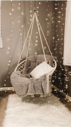 65 very beautiful and comfortable bedroom decor ideas 00018 - Furniture Classic aesthetic bedroom Dream Bedroom, Room Decor Bedroom, Teen Room Decor, Bedroom Swing Chair, Lighting Ideas Bedroom, Swinging Chair, Room Lights Decor, Modern Room Decor, Decor For Small Bedroom