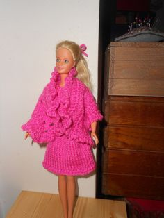 Barbie clothes, Hand knitted and crochetted Barbie dress and shawl, Ready to ship, Fuchsia pink Fashion, girl,