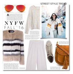 """""""Day Three: The Best NYFW Street Style"""" by dolly-valkyrie ❤ liked on Polyvore featuring AINEA, Monki, Missoni, Chloé, Ray-Ban, Rebecca Minkoff, women's clothing, women, female and woman"""