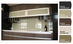 Painted glass backsplash means no grout to clean!
