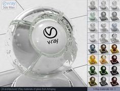 Vray Glass Materials 3D Модель .max .c4d .obj .3ds .fbx .lwo .stl @3DExport.com by ARHIGREGDESIGN