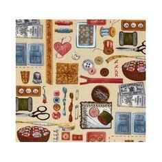 Tela patchwork MATERIALES DE COSTURA SOBRE BEIGE http://www.gloriapatchwork.com/tienda/Costura/5601-materiales-de-costura-sobre-beige.html