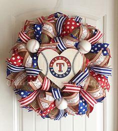 Texas Rangers Wreath, Texas Rangers Sign, Texas Rangers Decor, Texas Decor, MLB Wreath, Baseball Wreath, Baseball Decor, Rangers Decor by CharmingBarnBoutique on Etsy