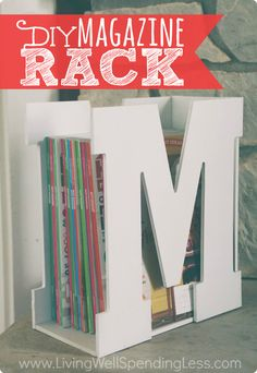 "Best DIY Ideas Jewelry: You won't believe how quick & easy it is to make this darling ""M is for Magazine"" rack using precut wood letters & a piece of scrap wood! A stylish & original gift idea that is sure to be a hit! Wood Crafts, Fun Crafts, Diy And Crafts, Diy Wood, Decor Crafts, Diy Projects To Try, Craft Projects, Project Ideas, Craft Ideas"