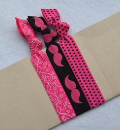Whimsical Mustache Hair Ties by ShillysFrillies on Etsy, $3.30. These adorable hair ties and headbands are created by my best friend of 25 plus years and are wonderful for the health of your hair all done in style all your own!