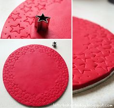 Roll out your fondant and cut out shapes to decorate your cake with or just indent fondant with cookie cutter shapes