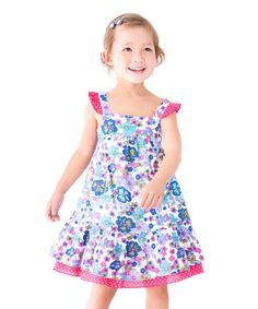 This Purple Ella Ruffle Dress - Infant, Toddler & Girls is perfect! #zulilyfinds