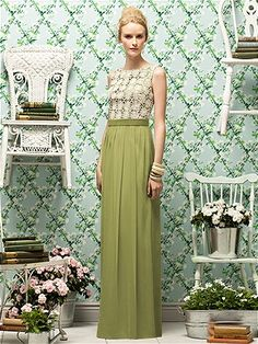 The Dessy Grp: Full length dress w/ sleeveless daisy lace bodice over any color matte satin. Slightly shirred crinkle chiffon skirt and matching matte satin belt at natural waist. Belt, skirt and lining on bodice always match. See nelly's bridal.