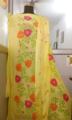 Hand Painted Dupian Silk Suit in Light Yellow With Dupatta