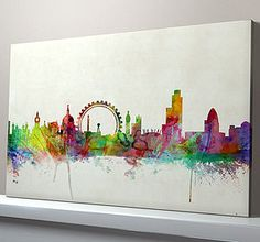 London City Skyline Print - paintings & canvases