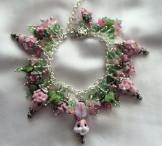Pink Easter Egg Lampwork Charm Bracelet with Bunny by therodeorose