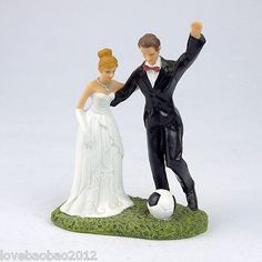 Romantic Football Marriage Polyresin Figurine Wedding Cake Toppers Resin Decors