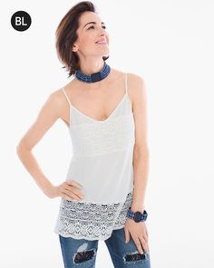 """Delicate lace evokes an instant-classic romance in this sleek layering cami with a super-soft handfeel.  Individual style. Clean, modern lines. The Exclusive Black Label by Chico's™ collection.   Adjustable spaghetti straps.  Length: 26"""".  Rayon.  Hand wash. Imported."""