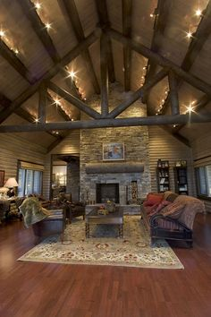 Large Great Room lighting exposed ceiling