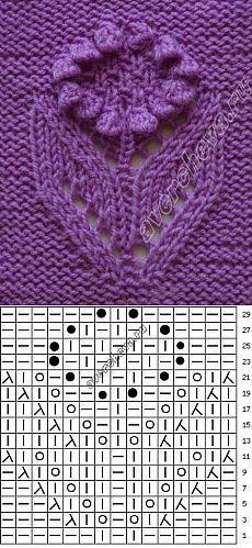 узор цветок подсолнух | каталог вязаных спицами узоров