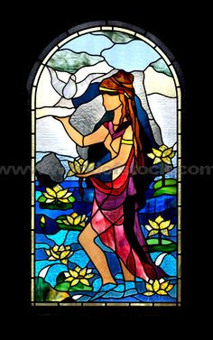 Stock Photo titled: Decorative Arched Stained Glass Window With A Cypriot Girl With A Water Lily And A Dove Flying Of Her Hand Colorful Artistic Pattern Isolated On Black Background Cyprus Vertical, unlicensed use prohibited