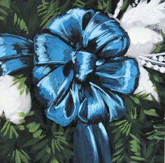 Original Acrylic Painting - Blue Christmas Wreath Ribbon Bow