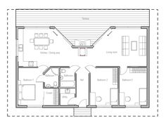 Very popular small house plan. Good choice for the vacation home, three bedrooms, carport. Small home design with covered terrace.