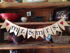 Mr. and Mrs. Burlap Bunting in White with by ThirtySixDesign