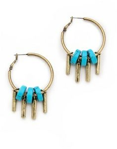 Giles & Brother Stone Drum Fringe Hoop Earrings.