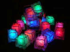 How to make glow-in-the-dark neon ice cubes. But I'm assuming you need a black light for them to glow. Ice Cube Lights, Led Ice Cubes, Neon Food, Blacklight Party, Color Changing Lights, Neon Party, 90s Party, Light Colors, Just In Case