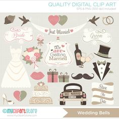 Just Married / Vintage Wedding / Hipster Clip by MyClipArtStore