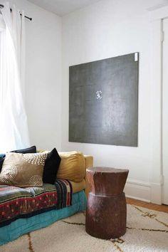 cushion stack as a sofa, nice colors and good bohemian vibe