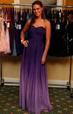 Purple Ombre Bridesmaid long flowy strapless sweet heart neckline dress. Now if I could get this in black that fades to turquoise that would be awesome!!!!
