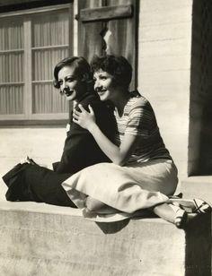 Joan Crawford with Claudette Colbert