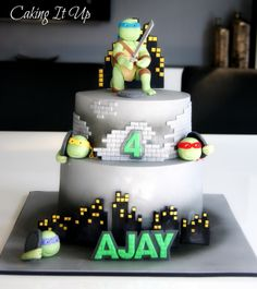 TMNT- Teenage Mutant Ninja Turtles birthday cake with turtle figurines www.facebook.com/cakingitup Ninja Turtle Birthday Cake, Baby Boy Birthday Cake, Ninja Birthday Parties, Baby Boy Cakes, Girl Birthday Themes, Turtle Party, 4th Birthday, Tmnt Cake, Caking It Up