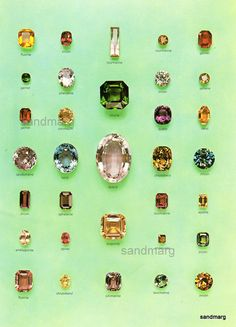 Vintage Chart Cut and Polished Mineral Crystals  31 Gemstones.