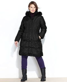 London Fog Plus Size Coat, Knee-Length Hooded Puffer - Plus Size Coats - Plus Sizes - Macy's