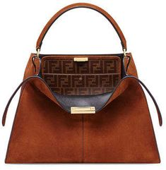 7748beb1cb5a Fendi Peekaboo X-Lite Suede   Leather Satchel Bag