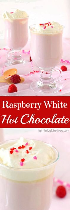 Raspberry White Hot Chocolate - Faithfully Gluten Free Make a Raspberry White Hot Chocolate for a quick, fun treat for your sweetie this Valentine's Day. Sin Gluten, Gluten Free, Hot Chocolate Bars, Hot Chocolate Recipes, Winter Desserts, Just Desserts, Alcohol, Christmas Treats, Yummy Drinks