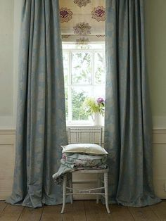 via Linwood Fabrics - Love this treatment with blue-gray silk damask drapes and a pretty Roman Shade