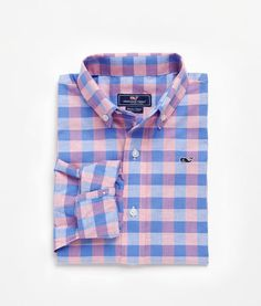 Boys Tucker's Point Gingham Whale Shirt